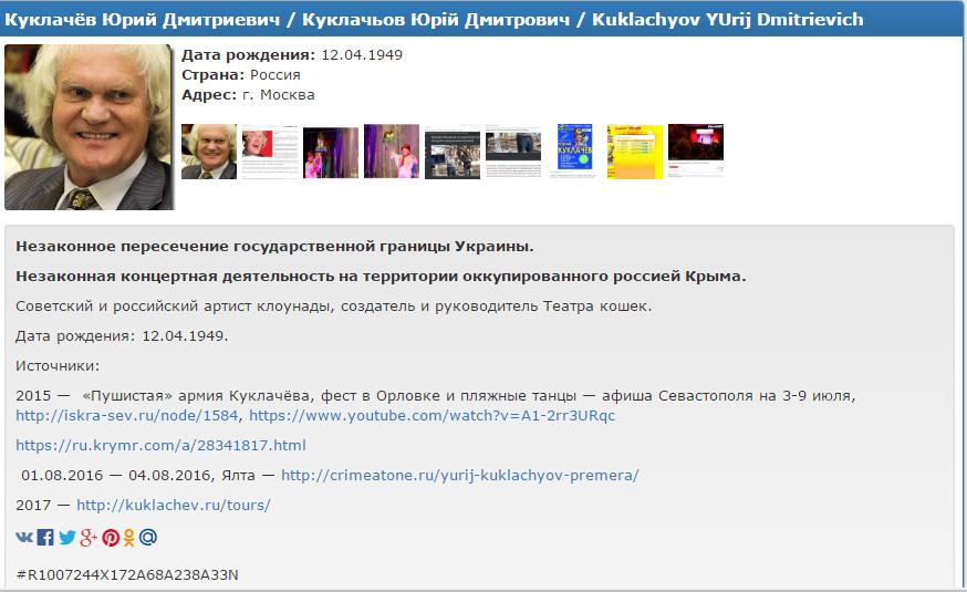 Юрий Куклачев попал вбазу украинского сайта «Миротворец»