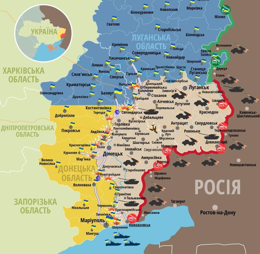 Задень наДонбассе зафиксировано 20 обстрелов боевиков— Штаб АТО